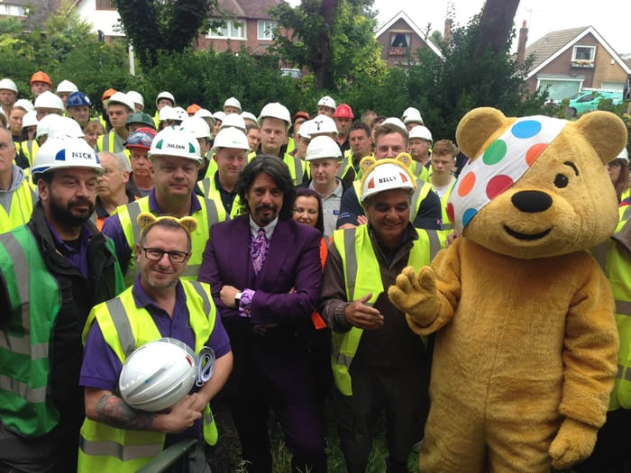 Nick, LLB, team and pudsey in garden